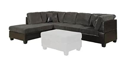 2 pc Connell collection two tone dark gray corduroy and espresso leather like vinyl sectional sofa