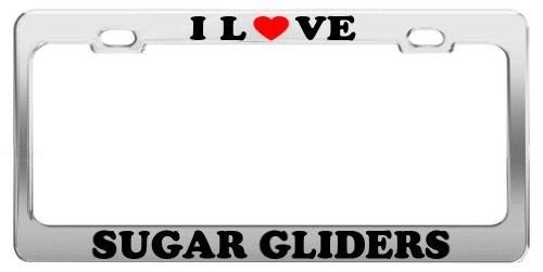 I Love SUGAR GLIDERS License Plate Frame Car Truck Accessory Gift