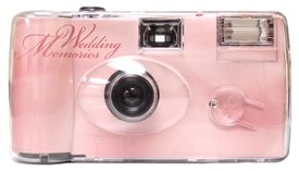 10 Pack Soft Pink Wedding Cameras - Matching Table Cards Included - 27 Exposures - Built-in-flash - 35mm - 400 ISO Film