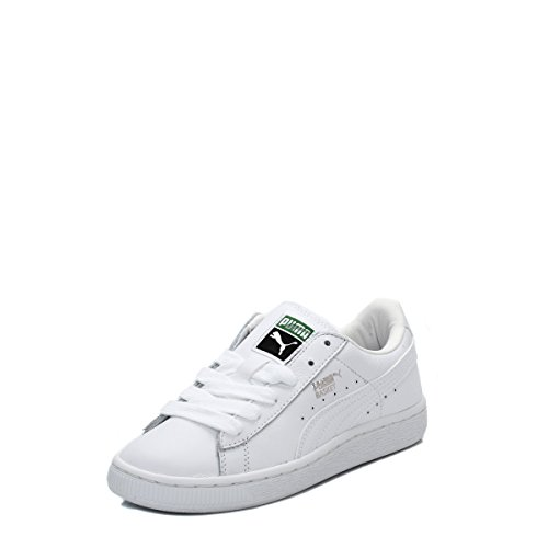 Baskets Basket Leather Kids Puma - Blanc/Argenté
