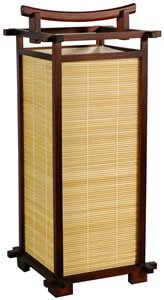 Oriental Furniture Unusual Alternative Natural Gift Ideas, 18-Inch Nara Wood And Bamboo Matchstick Japanese Lantern, Walnut