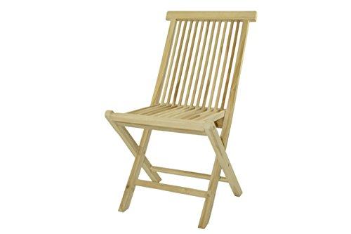 Klappstuhl Teakstuhl Gartenstuhl Teak Holz Stuhl für Terrasse Balkon Wintergarten unbehandelt massiv klappbar natur