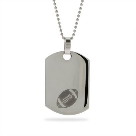 Stainless Steel Football Dog Tag Length 24 inches (Lengths 18 inches 20 inches 24 inches Available)