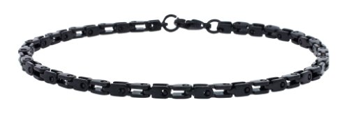 Men's Designer Black PVD Polished Stainless Steel Link Chain Bracelet 9