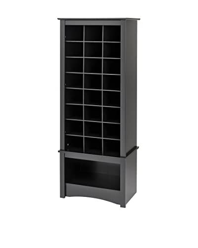 Prepac Tall Shoe Cubbie Cabinet, Black
