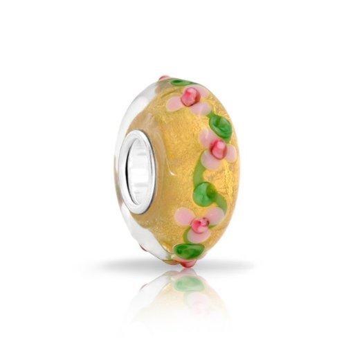 Bling Jewelry Gold Foil Glitter Murano Glass Flower Bead Silver Fits Pandora