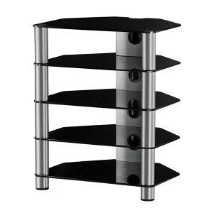 RX2150 NG - Mueble Hifi 5 estantes. Vidrio Negro. Chasis de aluminio de color gris.
