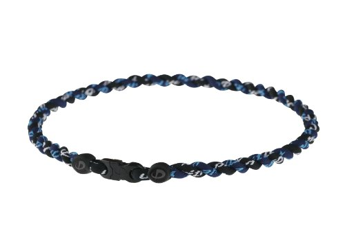 Phiten Titanium Necklace Tornado, Navy / Black, 22 Inch