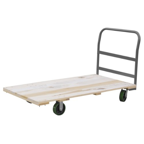 Akro-Mils RPT24485K5G6GY 24-Inch  by 48-Inch  Industrial Grade Hard Wood Platform Truck with Crossbar Handle and 6-Inch  Polyurethane Casters- 2400-Pound capacity