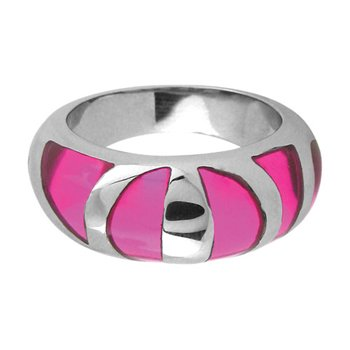 Size 7 -Inox Jewelry Pink Resin 316L Stainless Steel Ring