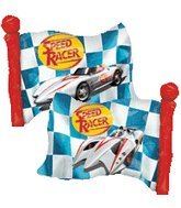 "Speed Racer Flag Shape Giant 27"" Foil Balloon - 1"