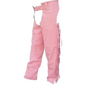 Ladies Pink Cowhide Leather Motorcycle Chaps
