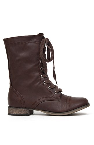 Breckelles Georgia-21 Lace Up Military Combat Boot - Light Brown PU