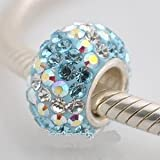 Blue / Iridescent AB Swirl - Swarovski Crystal Discoball - Sterling Silver Core Charm Bead - fits Pandora, Chamilia etc style Bracelets - SpangleBead