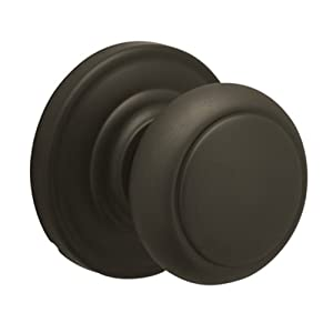 Schlage Andover Passage Knob, Andover rose, Oil Rubbed Bronze