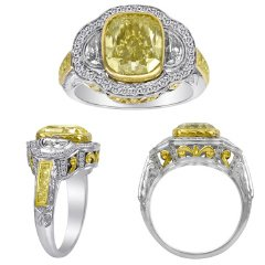 5.79 CT Fancy Yellow Diamond Ring ( FY 4.51ct, RD 0.43ct, HM 0.55ct, FY 0.30ct)