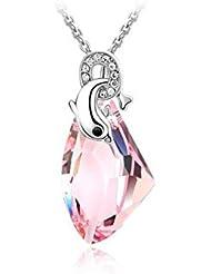 Glitz Fahsion Dolphin Mount Multi-Colour Crystal Drop Pendant Necklace For Women