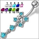 Fancy Jeweled Dangling Belly Ring Body Jewelry