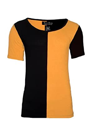 Romeo And Revenge Mens Black / Yellow Scoop Neck T-shirt Saints Deep Neck All Sizes Small Medium Large XL (L)