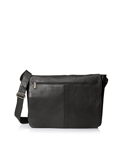 David King Men's East West Full Flap Messenger, Black