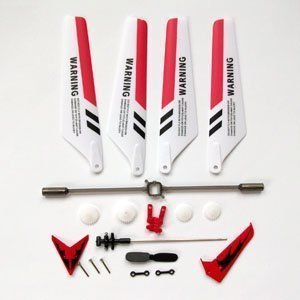 Leegoal Wheel Gear Set Wings Tail Props Balance Bar Full Replacement Parts Set for Syma S107 RC Helicopter(Set of 19,Red) - 1