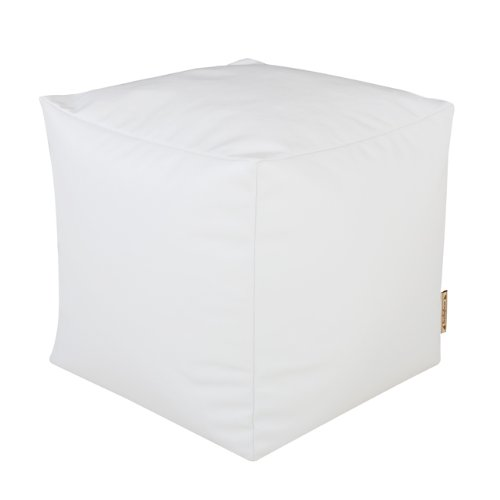 CUBE Bean Bag Faux Leather WHITE - Beanbag Footstool by Bean Bag Bazaar®