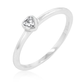 RIGHT HAND RING - White Gold Rhodium Bonded Solitaire Heart Ring with Clear Cubic Zirconia in Bezel Setting