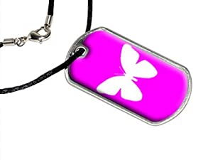 Butterfly - White on Hot Pink - Butterflies - Military Dog Tag Black Satin Cord Necklace by Graphics and More