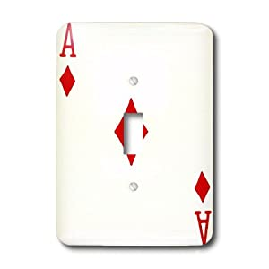 lsp_76550_1 InspirationzStore Playing Cards - Ace of Diamonds playing card - Red Diamond suit - Gifts for cards game players of poker bridge games - Light Switch Covers - single toggle switch
