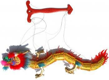 Educational Products - Chinese Festival Dragon Puppet - Yellow - Puppet measures 24 inches high by 24 inches long.