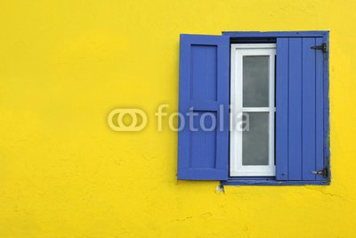 "Wallmonkeys Peel and Stick Wall Decals - Colorful Yellow House with Blue Shutters in Governor's Harbour - 48""W x 32""H Removable Graphic"