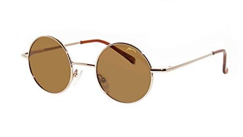 Occhiali da Sole Unisex Relax Rotonde Stile 'Lennon'/Polarizzato/R2317 (R2317C Oro / Lenti Marrone)