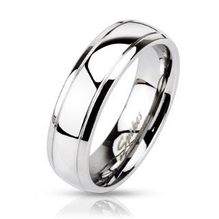 316L Stainless Steel Stepped Edge Mirror Polished Classic Wedding Ring 6mm 9