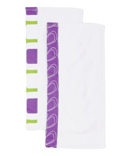 Organically Cute Burp Cloths, Purple Lily, 0-12 Months