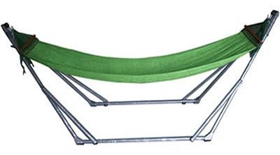 余裕の大型 【L】サイズ 折りたたみ自立式スタンド付きポータブルハンモック (グリーン)