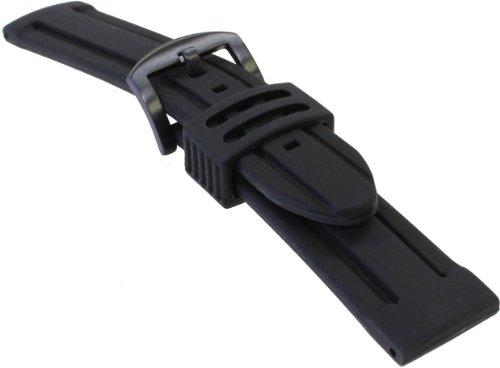 [バンビ]BAMBI 時計バンド シリコンラバー ブラック 20mm ブラックIP美錠 BG008A-S
