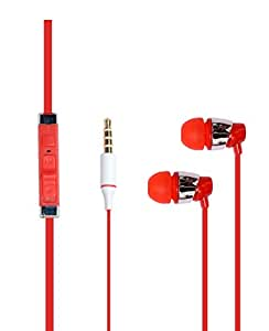 Hello Zone Sporty look and Comfort Fit Stereo Headset Handsfree Headphone Earphone with Mic 3.5 MM Jack Galaxy Tab TAB 3 NEO T111 T110 -RED