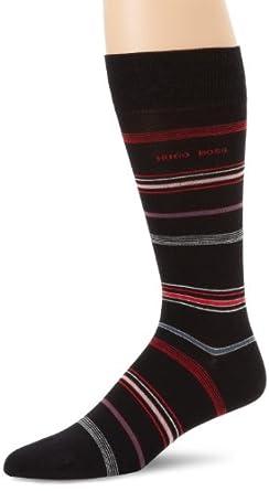 BOSS HUGO BOSS Men's Multicolored Striped Dress Sock, Black, One Size