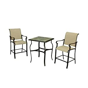 outdoor 3 piece high patio dining set seats 2 patio lawn garden