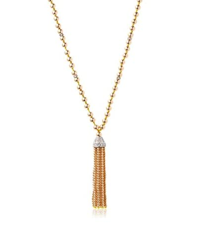 Kenneth Jay Lane 8593NPGSC 36-Inches Polished Gold Bead with Silver and Crystal Rondelles Tassel Nec...