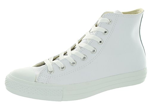 Converse Men's All Star Chuck Taylor Leather Hi White Basketball Shoe 5.5 Men US / 7.5 Women US White Monochrome