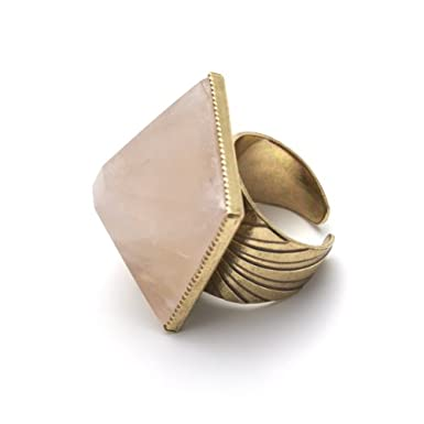 Rose Quartz Pyramid Ring by Anton Heunis||RF10F