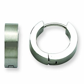 Genuine Chisel (TM) Earrings. Stainless Steel Satin Round Hinged Hoop Earrings. 100% Satisfaction Guaranteed.