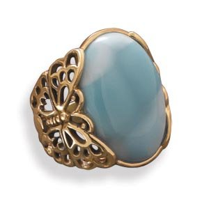 Bronze Larimar Butterfly Ring / Size 8