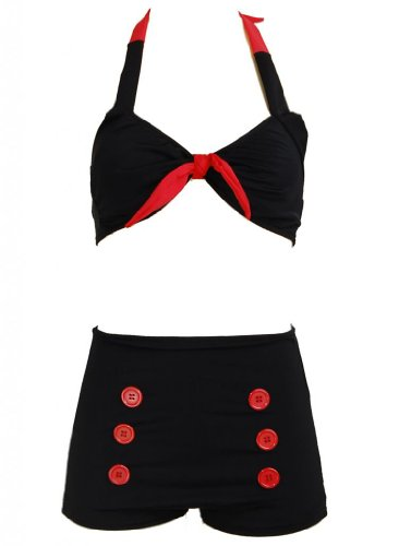 Black Retro Pin up Rockabilly Sailor Nautical Women's Swimsuit Swimwear Bikini