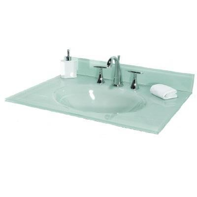 Pegasus PBI37W 37 In. White Glass Vanity Top With Integral Bowl, White