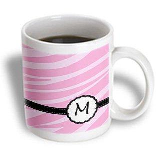 3Drose Mug_152145_1 Monogram Letter M Pink Zebra Print Chic Girly Art Ceramic Mug, 11-Ounce