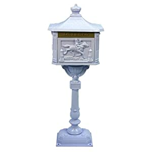 White Victorian Aluminum Mailbox with Steel Frame - Pony Express Motif