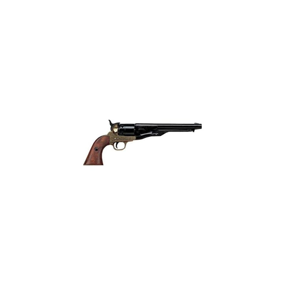 M1860 Civil War Army Revolver with Black / Antique Brass Finish   Replica of Classic Cap and Ball Pistol Used by Both Union / USA and Confederate / CSA Forces  Airsoft Pistols  Sports & Outdoors