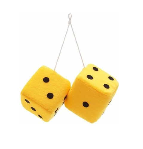 """Vintage Parts 14559 3"""" Yellow Fuzzy Dice with Black Dots - Pair - 1"""